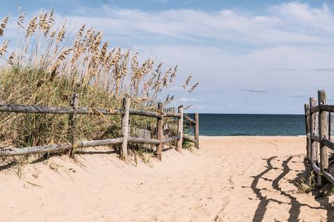 Pathway to Beach with Wooden Fence at Sandbridge