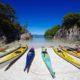 Sea Kayaks in Cove on Great Bear Rainforest, British Columbia