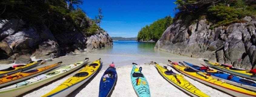 Sea Kayaks in Cove on Great Bear Rainforest, British Columbia