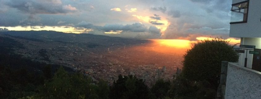 View of Bogotá, Colombia at sunset