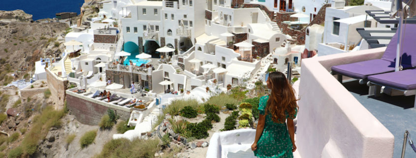 Teen tourist on Island of Santorini, Greece