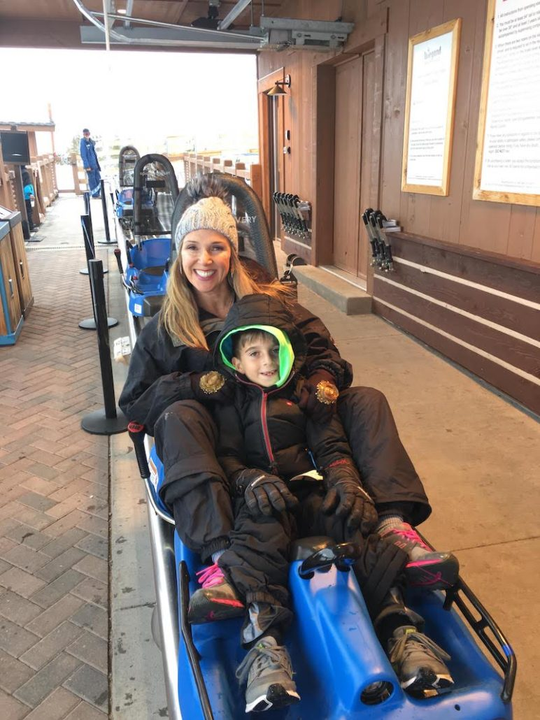 Rina Nehdar with son in Vail, Colorado