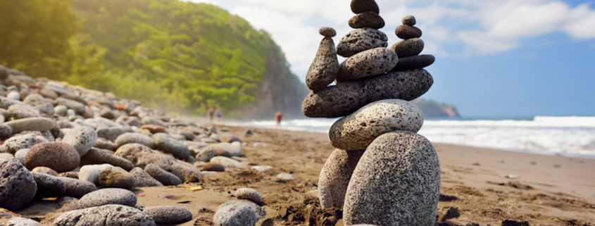rocky beach of Pololu Valley, Big Island, Hawaii