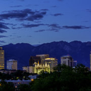 Nightfall over Salt Lake City, Utah