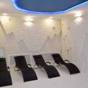 Salt cave halochamber with sunbeds