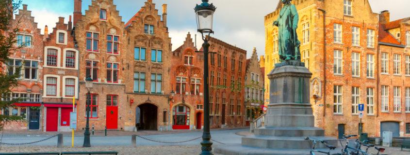 Monument Jan Van Eyck on Square Jan van Eyckplein in Bruges, Belgium