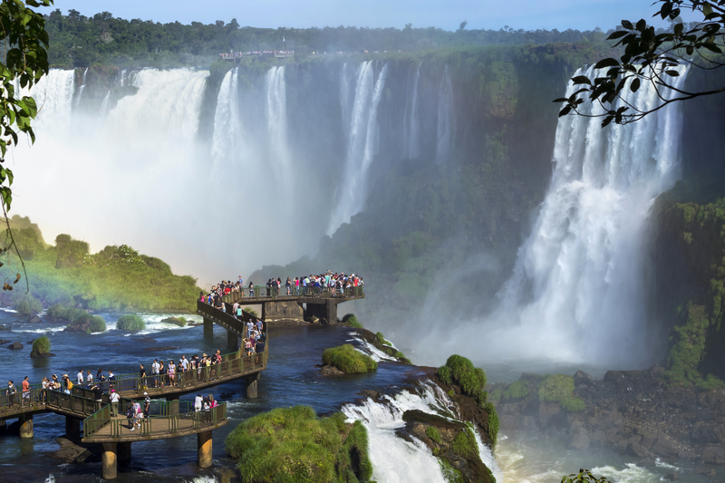 Tourists at Iguazu Falls