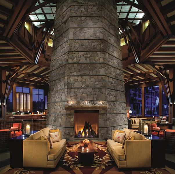 Lobby, fireplace at night