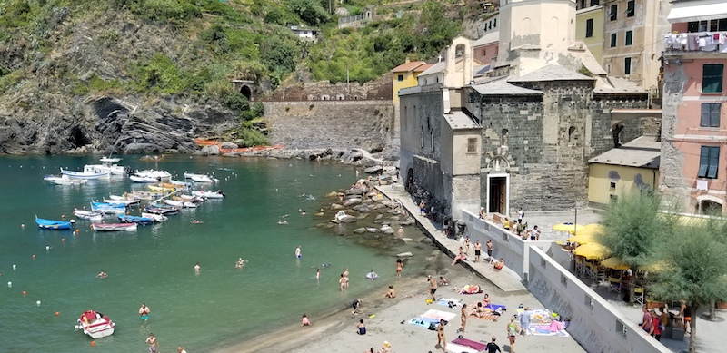Our apartment at La Marina Rooms gave us a perfect view of Vernazza's beach and harbor