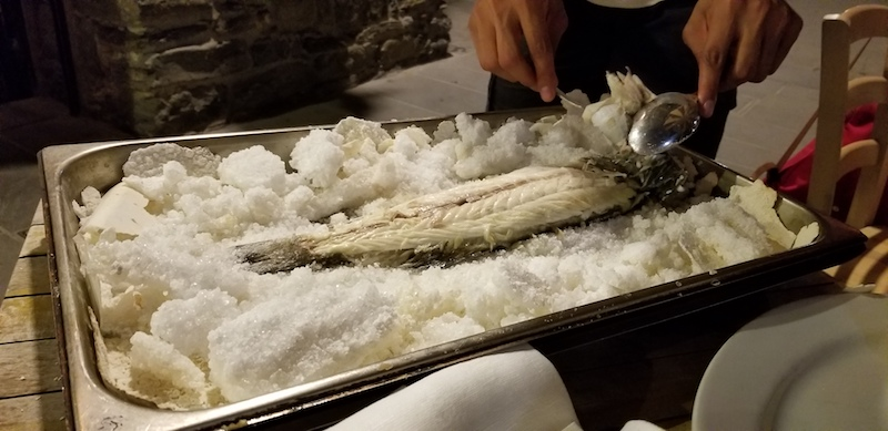 Salt-crusted fish is a specialty of Ristorante Belforte