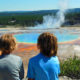 Kids at Yellowstone Grand Prismatic Spring