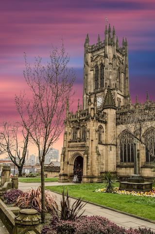 Manchester Cathedral at sunset