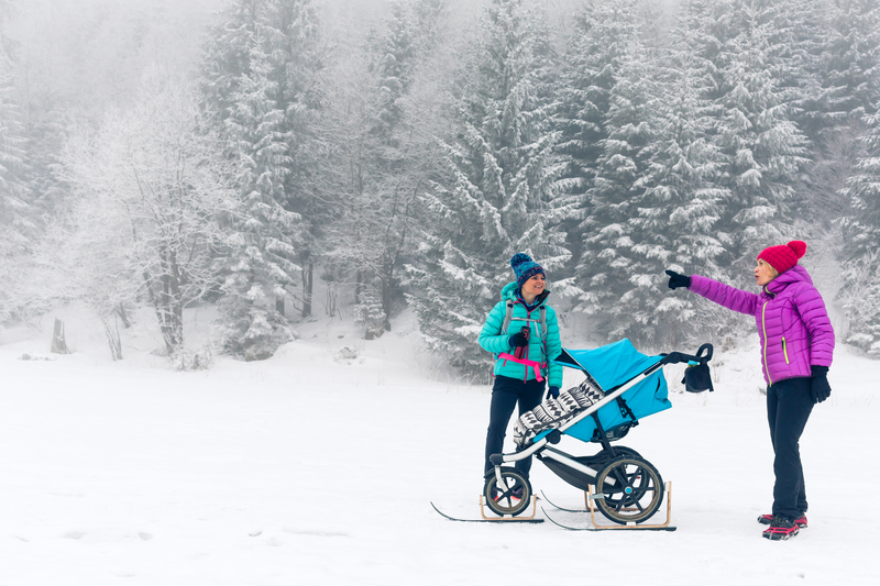 Family Hiking in winter