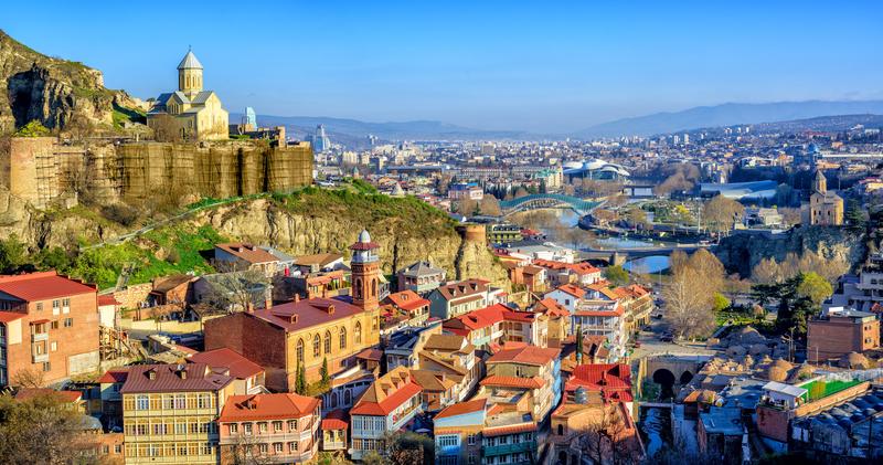 Tbilisi Old Town with Narikala Fortress, Georgia © Xantana   Dreamstime.com