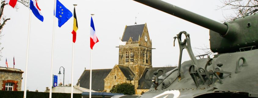 Normandy invasion, Sainte-Mer-Eglise, American tank and the steeple of the church with parachutist, France