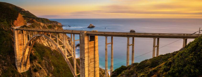 Bixby Bridge and Pacific Coast Highway at sunset near Big Sur in California © Miroslav Liska   Dreamstime.com