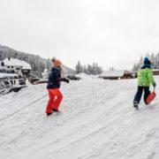 Kids sledding in the winter © Ifeelstock | Dreamstime.com
