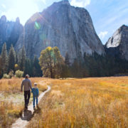 Father and son, enjoying valley and mountain view in Yosemite National Park, California © Noblige | Dreamstime.com