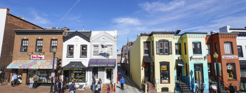 Typical colorful buildings in Georgetown, Washington, D.C.