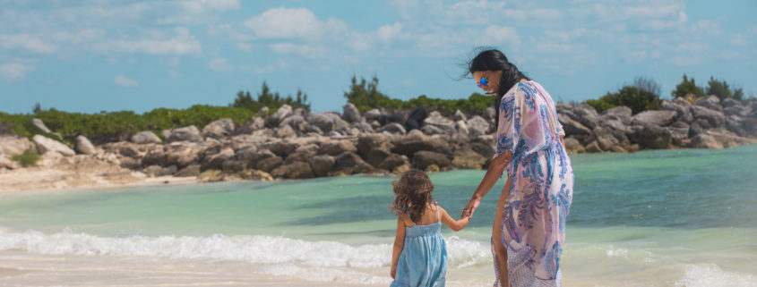 Mother and Daughter walking along the beach © Bahamas Paradise Cruise Line