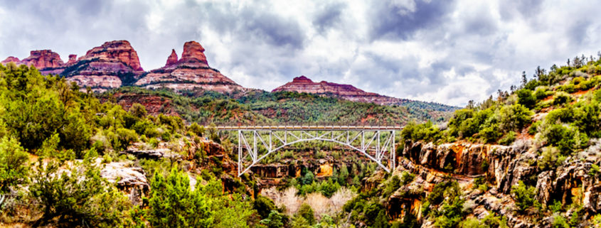 Midgely Bridge on Arizona SR89A between Sedona and Flagstaff over Wilson Canyon at Oak Creek Canyon.