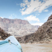 Rafting on a calm portion of the Colorado River in the Grand Canyon