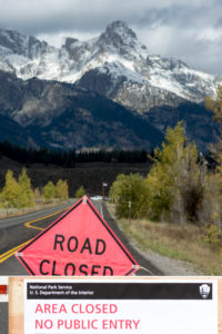 National Parks closure sign at entrance to the Grand Tetons National Park in Wyoming © Philip Bird | Dreamstime.com