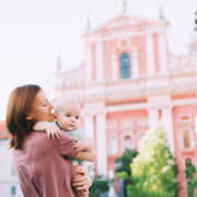 Mother and baby in the old town of Ljubljana, Slovenia in Eastern Europe © Nataliaderiabina | Dreamstime.com