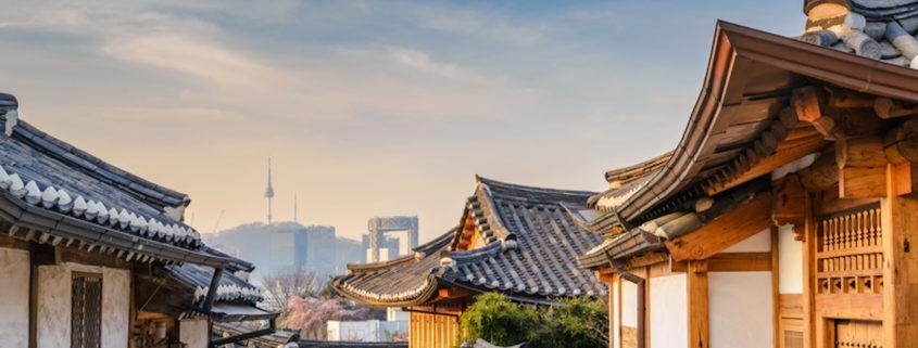 Bukchon Hanok Village and Seoul city skyline, Seoul, South Korea.