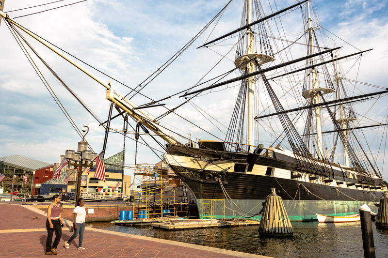 USS Constellation, one of the historic ships docked in Baltimore's Inner Harbor.