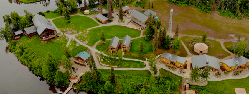 Aerial view of the lodge in autumn.
