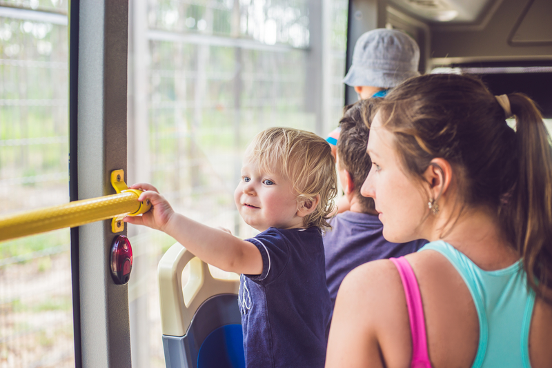 Traveling with children by bus.