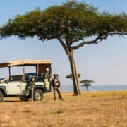 Family on safari in South Africa.