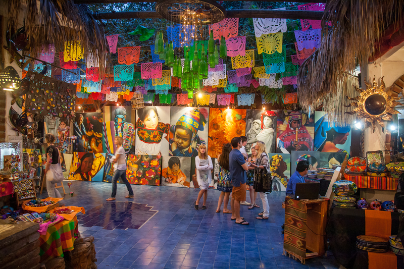 People visit art and souvenir gallery in San Jose Del Cabo, Mexico.