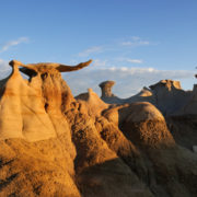 Stone Wings rock formation at sunrise in Bisti Wilderness area, New Mexico.