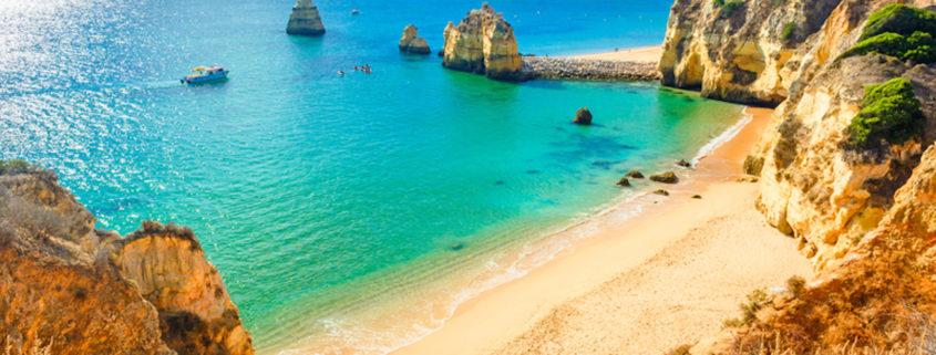 Beautiful sandy beach near Lagos in Panta da Piedade, Algarve region, Portugal.