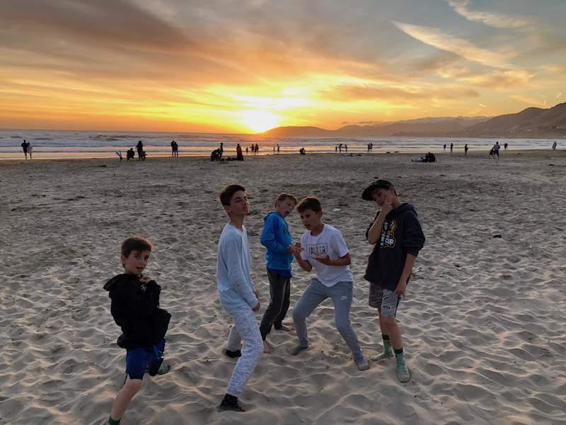 The boys on Prismo Beach.