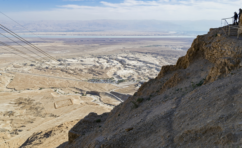 View of the Dead Sea from the top of the snake path to the Masada Fortress National Park in Israel.