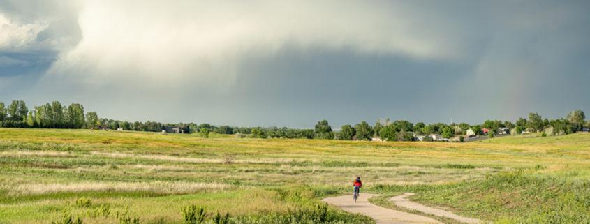 Biking Fort Collins along northern Colorado foothills.