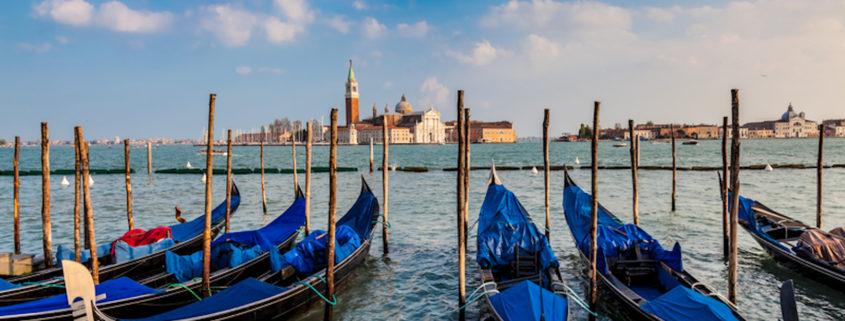 Gondolas and San Giorgio Maggiore Island, Venice, Italy