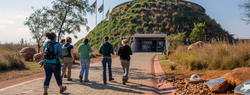 Entrance to Maropeng Exhibition Centre, the Cradle of Humankind World Heritage site in Gauteng, South Africa.