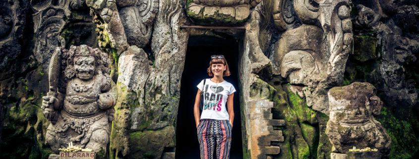 Ancient ruined cave Temple Goa Gajah, Ubud, Bali.