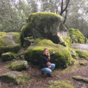Author Debra Bokur with ancient stones in Corsica