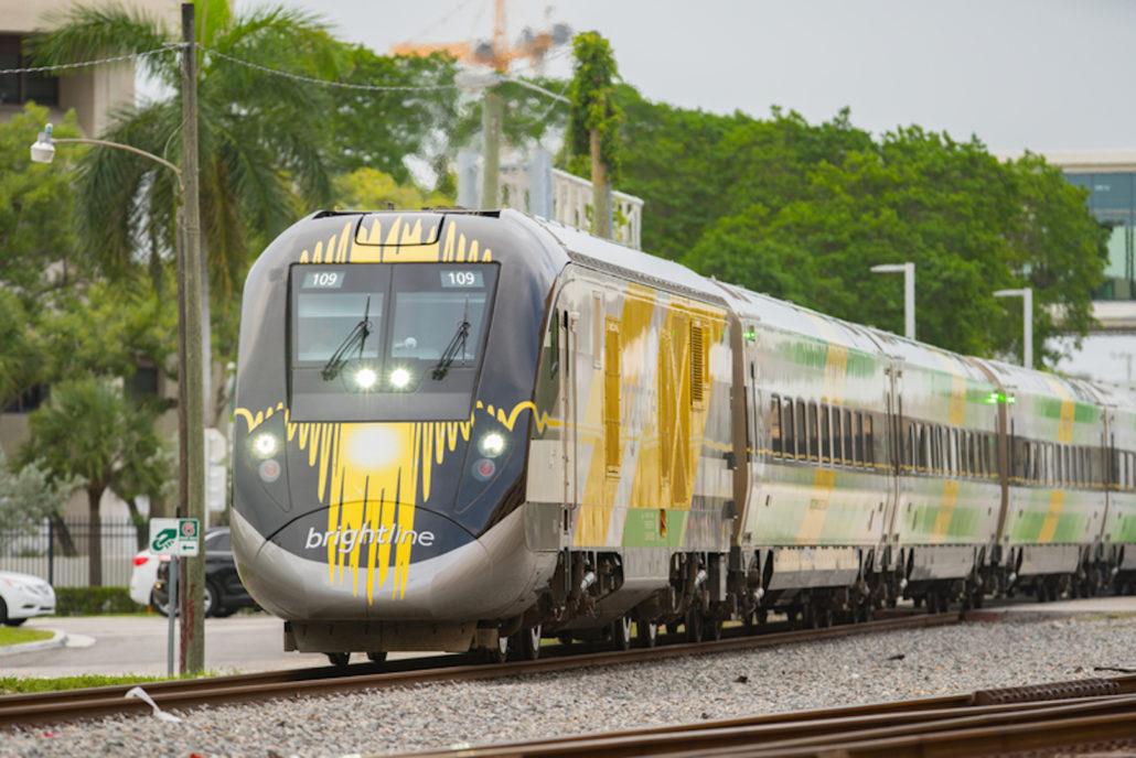 Brightline high-speed train, departing Fort Lauderdale