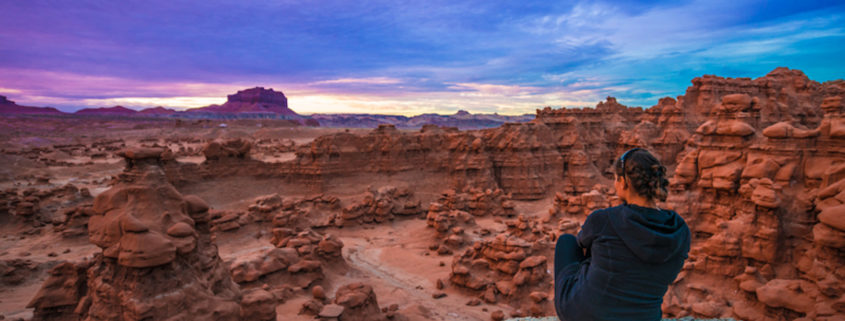 Sunset over the Goblin Valley, Utah.