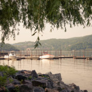 Early morning view of boat dock in Cold Spring, New York.