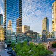 Modern buildings along Yorkville Avenue in Midtown Toronto, Ontario.