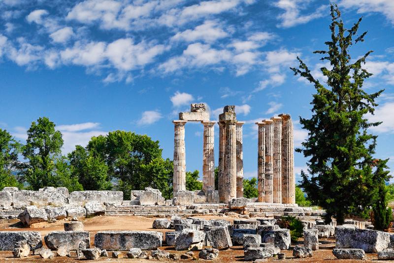 The Temple of Zeus (330 B.C.) in Nemea, Greece.