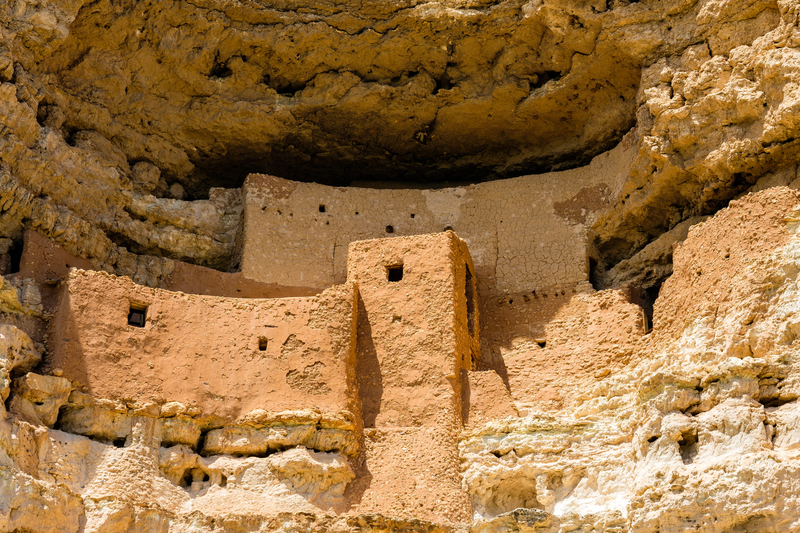 Close up view of the beautiful Montezuma Castle National Monument in Arizona.