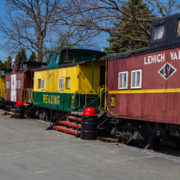 The Red Caboose Motel uses vintage cabooses from former railroads as motel rooms in Lancaster County, Pennsylvania.